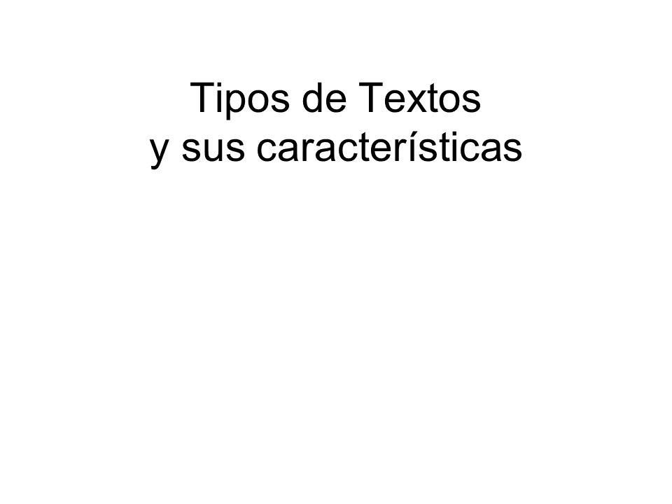 Tipos de Textos y sus características