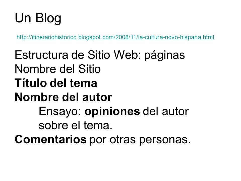 http://itinerariohistorico.blogspot.com/2008/11/la-cultura-novo-hispana.html Un Blog Estructura de Sitio Web: páginas Nombre del Sitio Título del tema