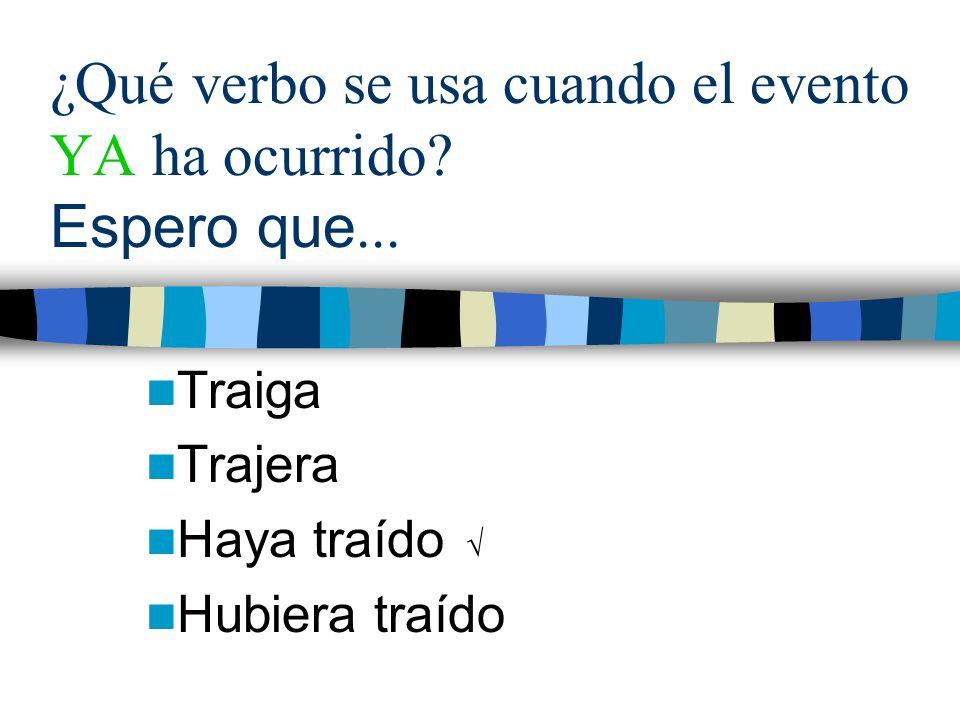 ¿Qué verbo se usa cuando el evento YA ha ocurrido.
