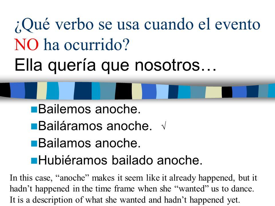 ¿Qué verbo se usa cuando el evento NO ha ocurrido.