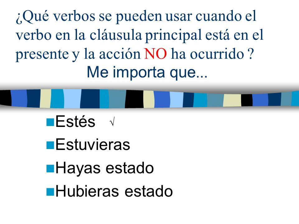 ¿Qué verbos se pueden usar cuando el verbo en la cláusula principal está en el presente y la acción NO ha ocurrido .