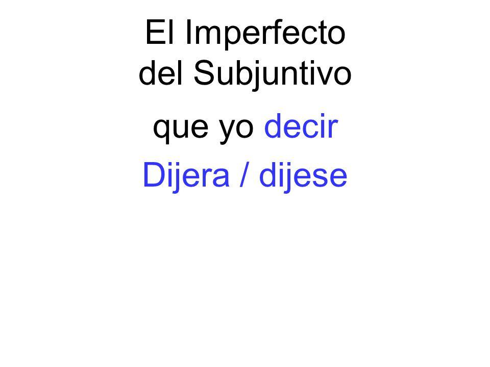 El Imperfecto del Subjuntivo que yo decir Dijera / dijese