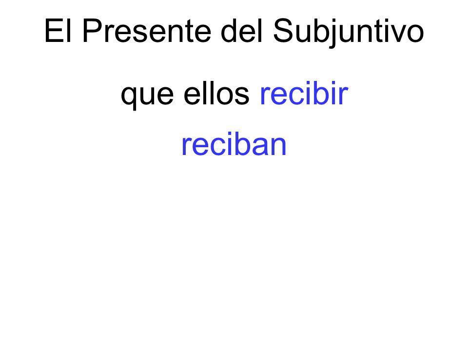 El Presente del Subjuntivo que ellos recibir reciban