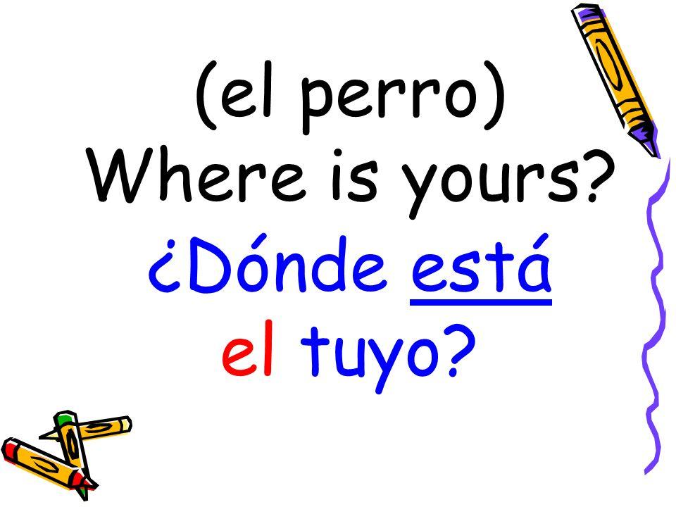 (el perro) Where is yours ¿Dónde está el tuyo