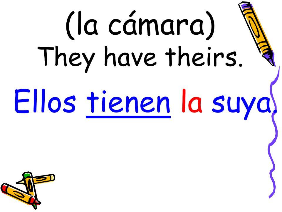 (la cámara) They have theirs. Ellos tienen la suya.