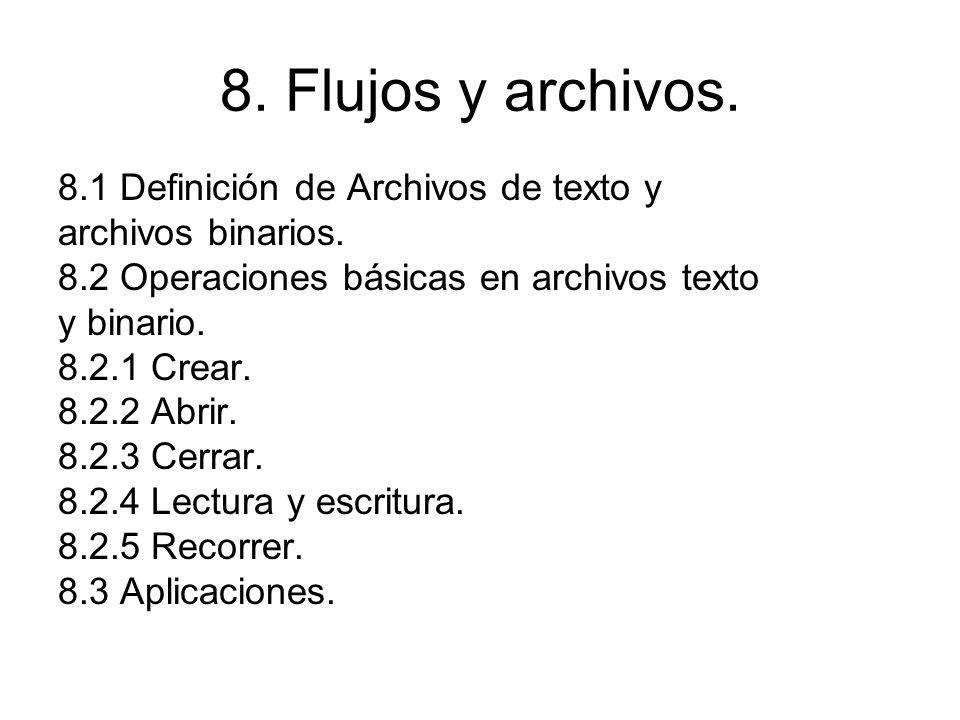 8. Flujos y archivos. 8.1 Definición de Archivos de texto y archivos binarios. 8.2 Operaciones básicas en archivos texto y binario. 8.2.1 Crear. 8.2.2