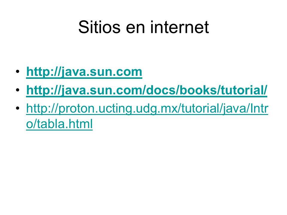 Sitios en internet http://java.sun.com http://java.sun.com/docs/books/tutorial/ http://proton.ucting.udg.mx/tutorial/java/Intr o/tabla.htmlhttp://prot