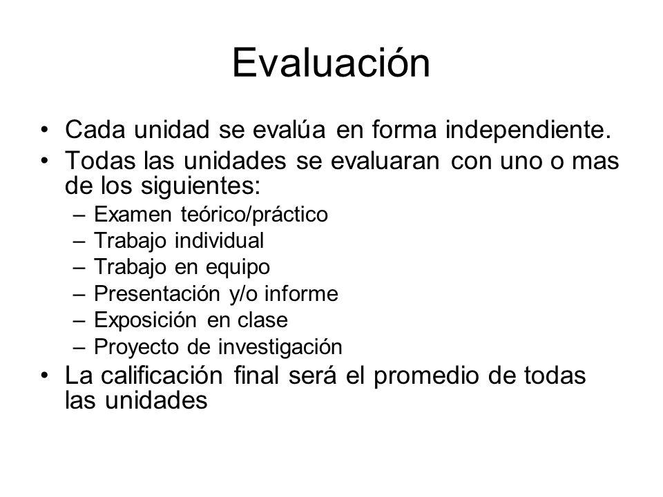 Evaluación Cada unidad se evalúa en forma independiente. Todas las unidades se evaluaran con uno o mas de los siguientes: –Examen teórico/práctico –Tr
