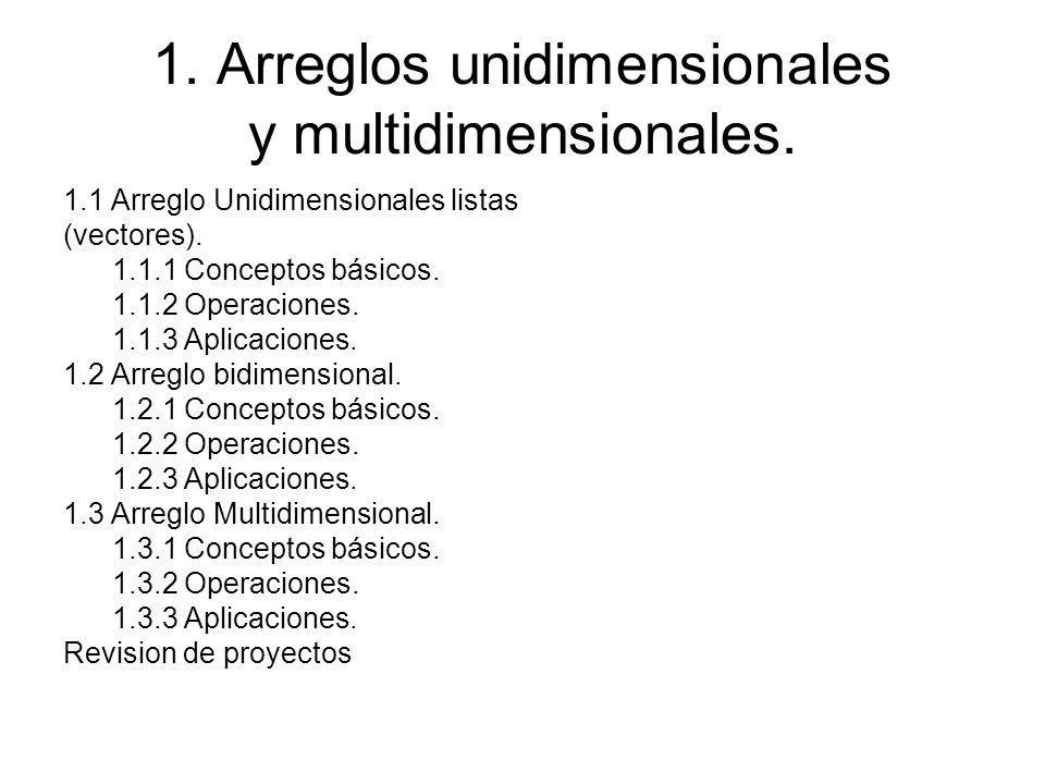1. Arreglos unidimensionales y multidimensionales. 1.1 Arreglo Unidimensionales listas (vectores). 1.1.1 Conceptos básicos. 1.1.2 Operaciones. 1.1.3 A
