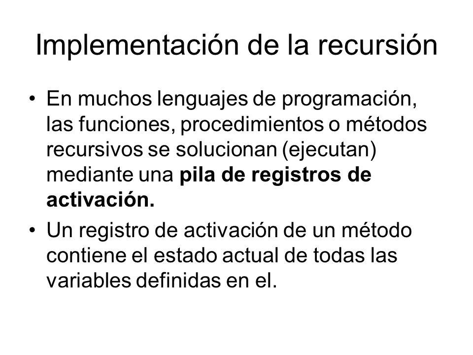 Implementación de la recursión En muchos lenguajes de programación, las funciones, procedimientos o métodos recursivos se solucionan (ejecutan) median