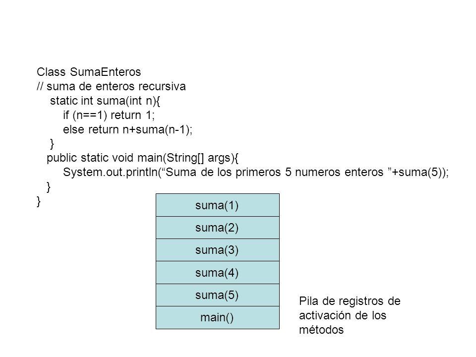 Class SumaEnteros // suma de enteros recursiva static int suma(int n){ if (n==1) return 1; else return n+suma(n-1); } public static void main(String[]