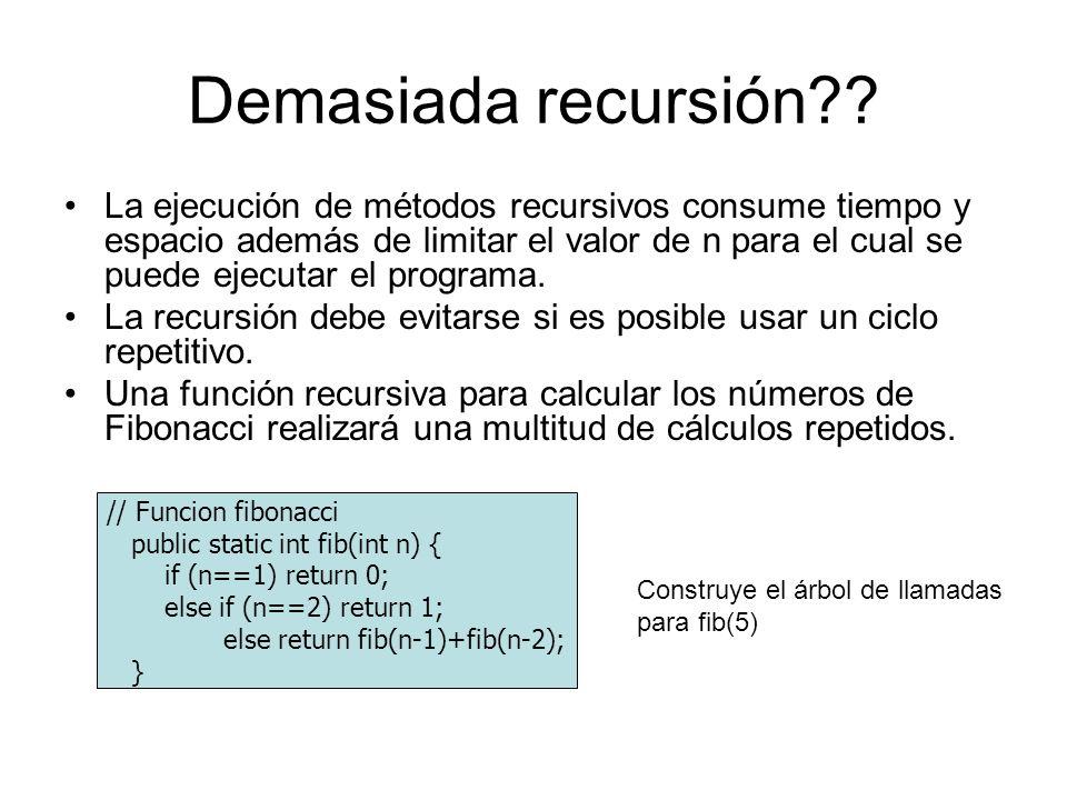 Demasiada recursión?? La ejecución de métodos recursivos consume tiempo y espacio además de limitar el valor de n para el cual se puede ejecutar el pr