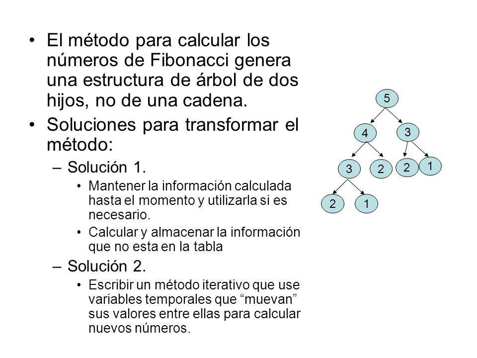 El método para calcular los números de Fibonacci genera una estructura de árbol de dos hijos, no de una cadena. Soluciones para transformar el método: