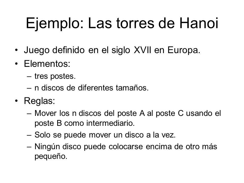 Ejemplo: Las torres de Hanoi Juego definido en el siglo XVII en Europa. Elementos: –tres postes. –n discos de diferentes tamaños. Reglas: –Mover los n