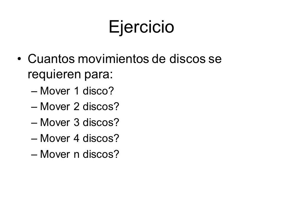 Ejercicio Cuantos movimientos de discos se requieren para: –Mover 1 disco? –Mover 2 discos? –Mover 3 discos? –Mover 4 discos? –Mover n discos?