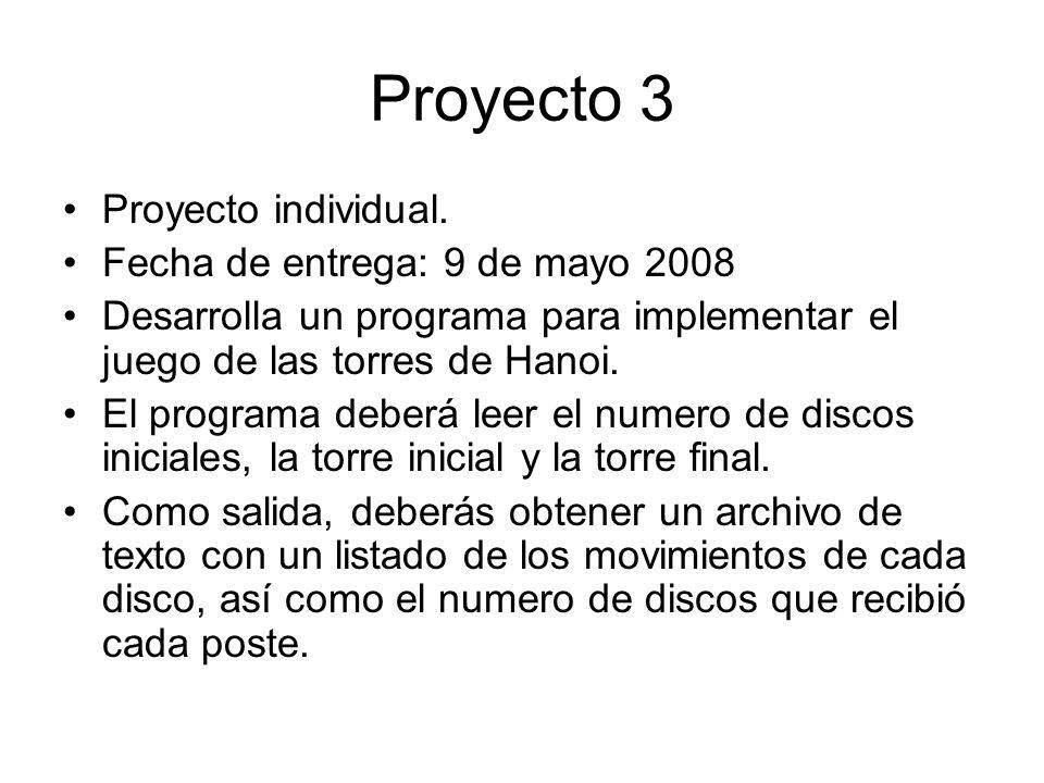 Proyecto 3 Proyecto individual. Fecha de entrega: 9 de mayo 2008 Desarrolla un programa para implementar el juego de las torres de Hanoi. El programa