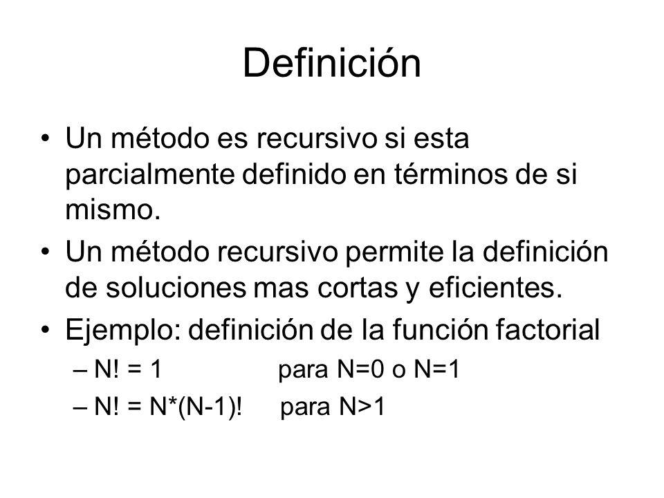 Definición Un método es recursivo si esta parcialmente definido en términos de si mismo. Un método recursivo permite la definición de soluciones mas c