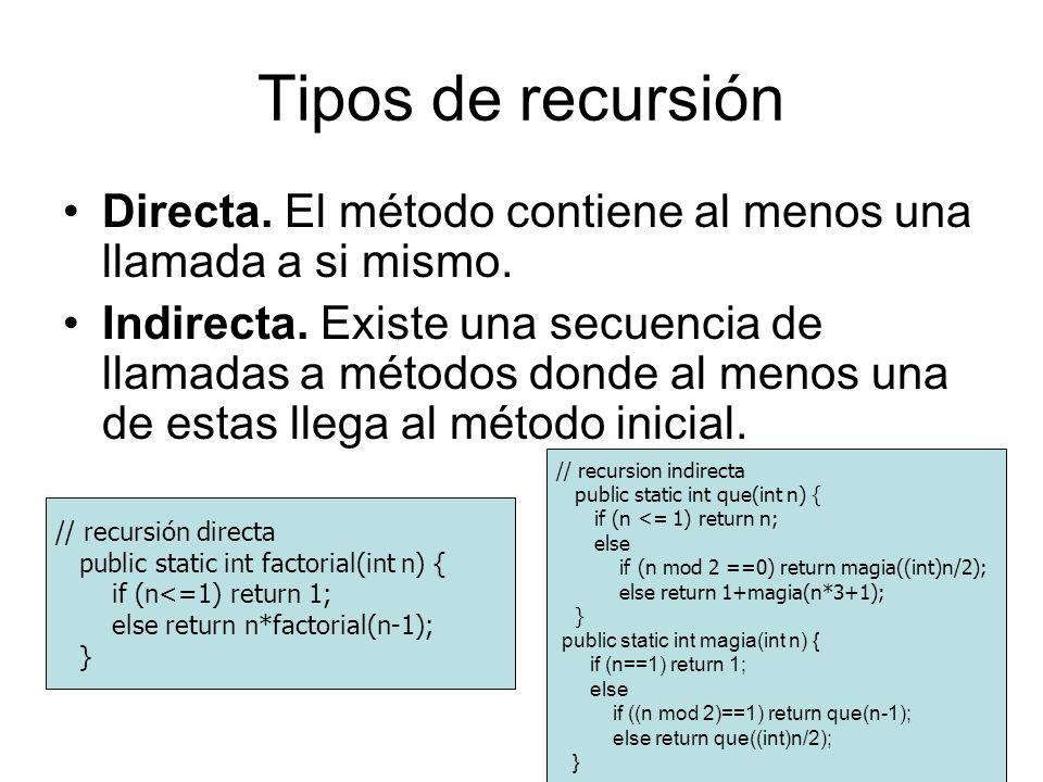 Tipos de recursión Directa. El método contiene al menos una llamada a si mismo. Indirecta. Existe una secuencia de llamadas a métodos donde al menos u