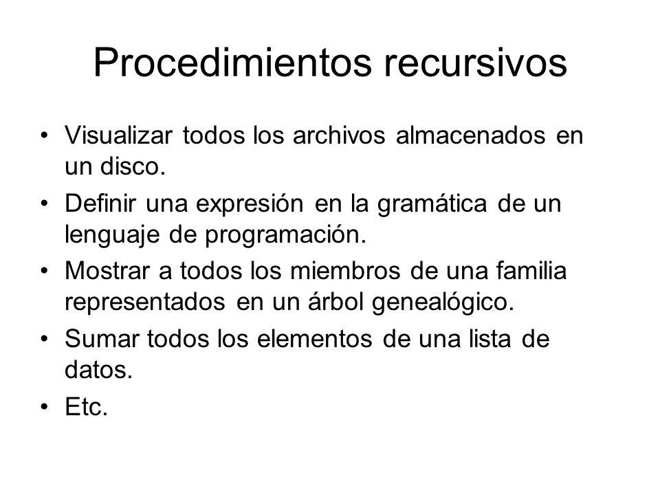 Procedimientos recursivos Visualizar todos los archivos almacenados en un disco. Definir una expresión en la gramática de un lenguaje de programación.