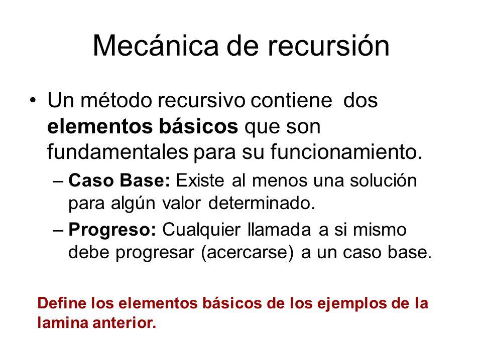 Mecánica de recursión Un método recursivo contiene dos elementos básicos que son fundamentales para su funcionamiento. –Caso Base: Existe al menos una