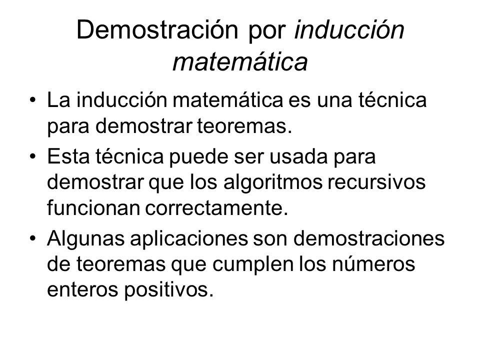 Demostración por inducción matemática La inducción matemática es una técnica para demostrar teoremas. Esta técnica puede ser usada para demostrar que
