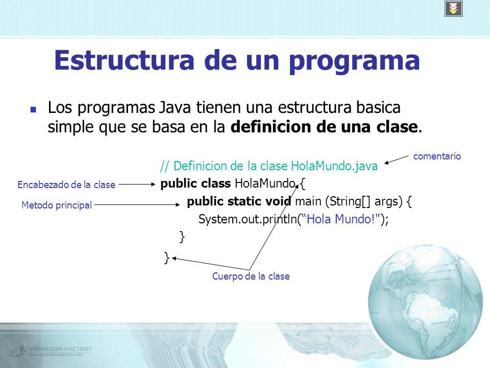 Estructura de un programa Los programas Java tienen una estructura basica simple que se basa en la definicion de una clase.