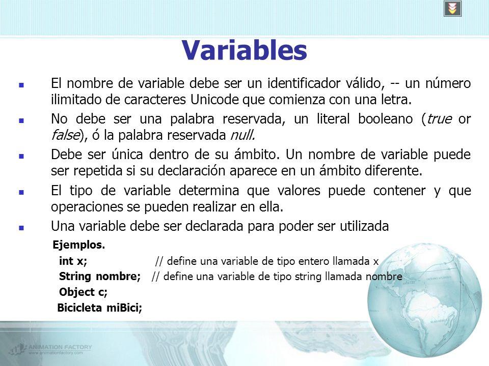 Variables El nombre de variable debe ser un identificador válido, -- un número ilimitado de caracteres Unicode que comienza con una letra.