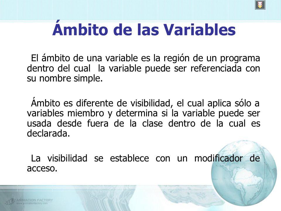 Ámbito de las Variables El ámbito de una variable es la región de un programa dentro del cual la variable puede ser referenciada con su nombre simple.