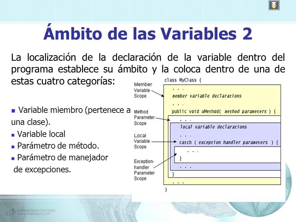 Ámbito de las Variables 2 La localización de la declaración de la variable dentro del programa establece su ámbito y la coloca dentro de una de estas cuatro categorías: Variable miembro (pertenece a una clase).