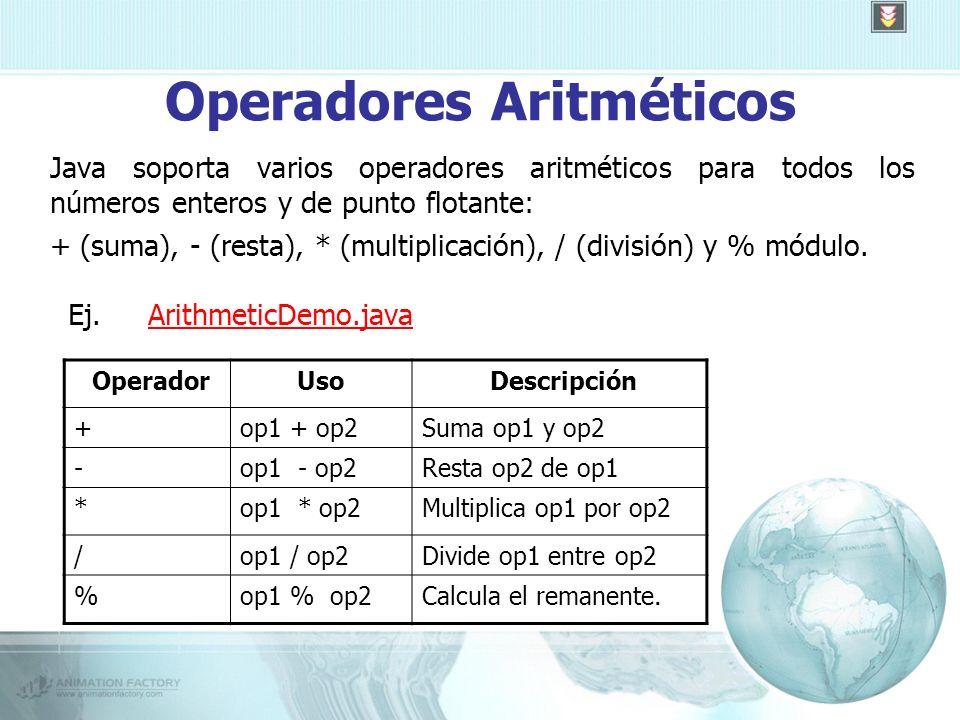 Operadores Aritméticos Java soporta varios operadores aritméticos para todos los números enteros y de punto flotante: + (suma), - (resta), * (multiplicación), / (división) y % módulo.