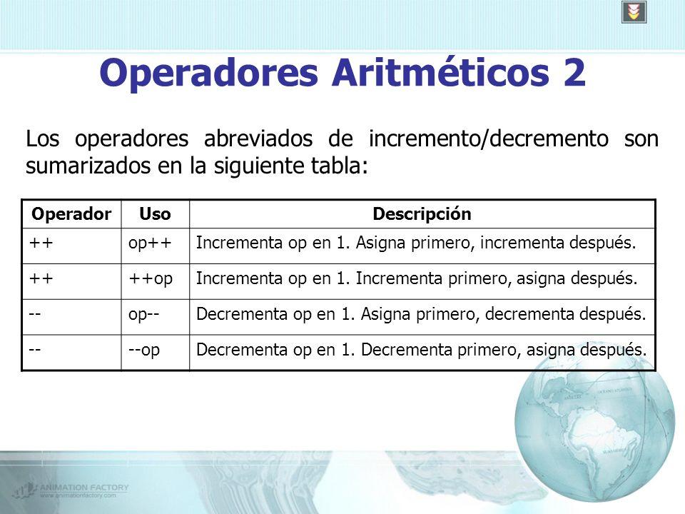 Operadores Aritméticos 2 Los operadores abreviados de incremento/decremento son sumarizados en la siguiente tabla: OperadorUsoDescripción ++op++Incrementa op en 1.