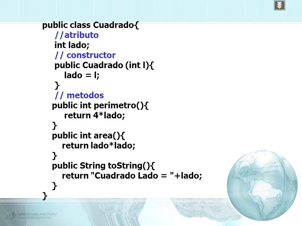 public class Cuadrado{ //atributo int lado; // constructor public Cuadrado (int l){ lado = l; } // metodos public int perimetro(){ return 4*lado; } public int area(){ return lado*lado; } public String toString(){ return Cuadrado Lado = +lado; }