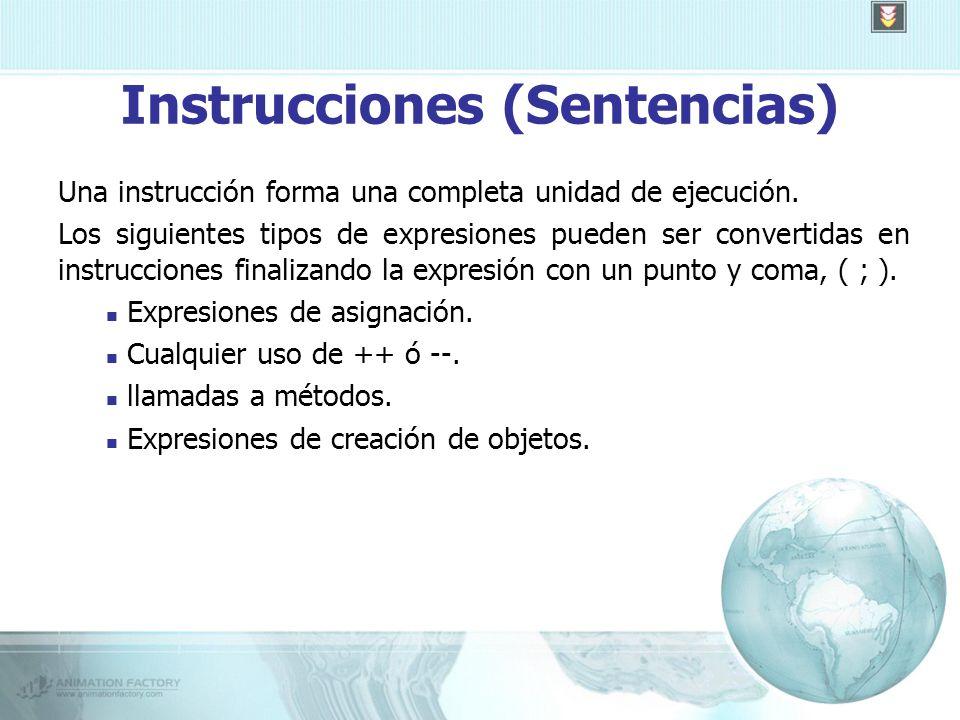 Instrucciones (Sentencias) Una instrucción forma una completa unidad de ejecución.