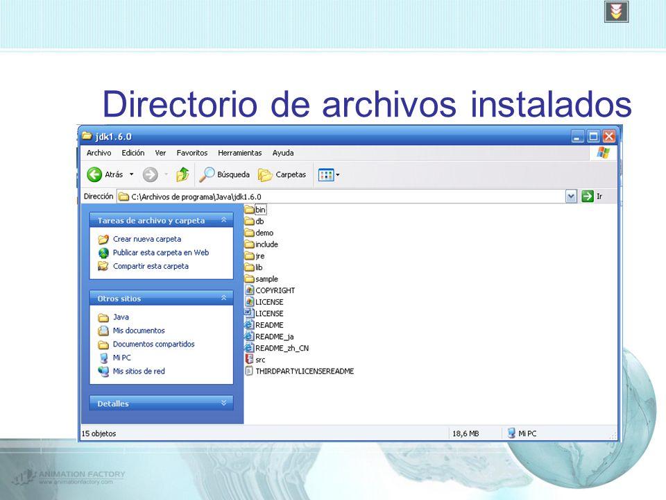 Directorio de archivos instalados