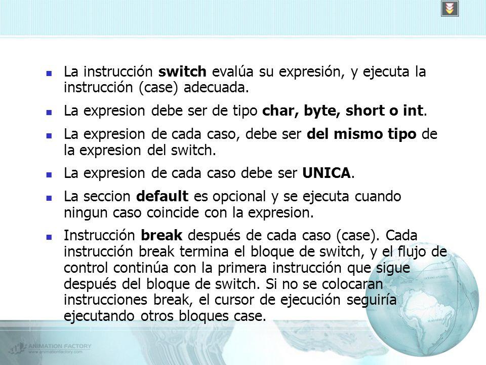 La instrucción switch evalúa su expresión, y ejecuta la instrucción (case) adecuada.
