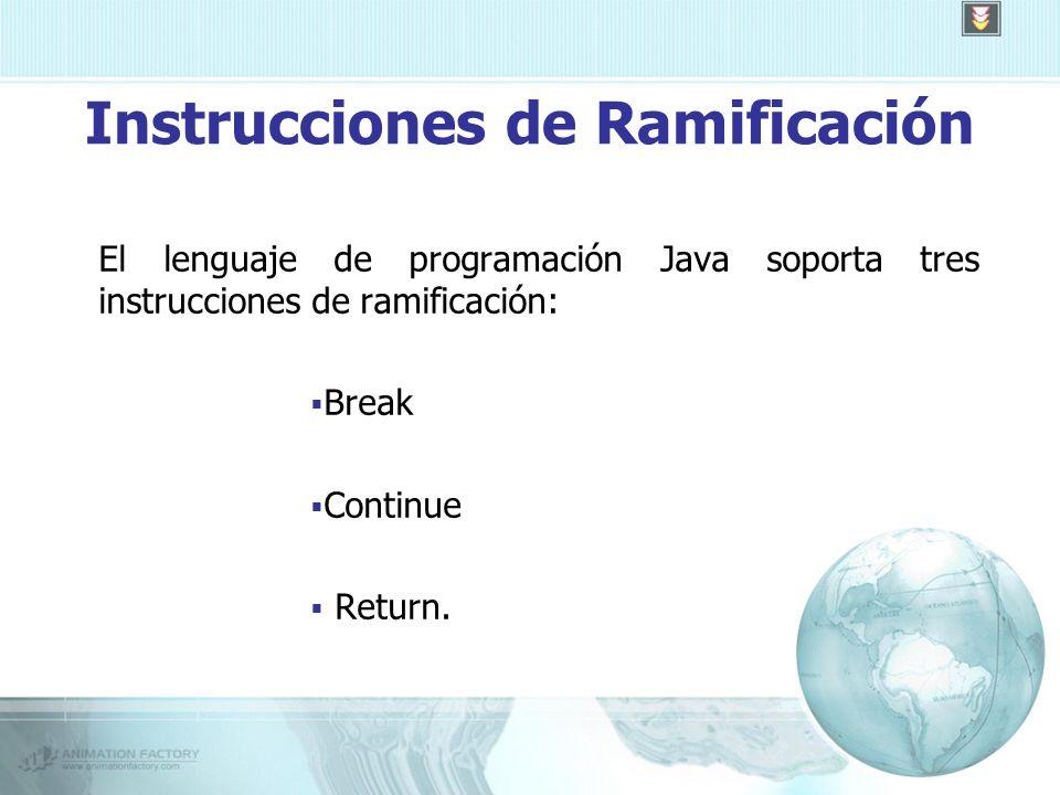 Instrucciones de Ramificación El lenguaje de programación Java soporta tres instrucciones de ramificación: Break Continue Return.
