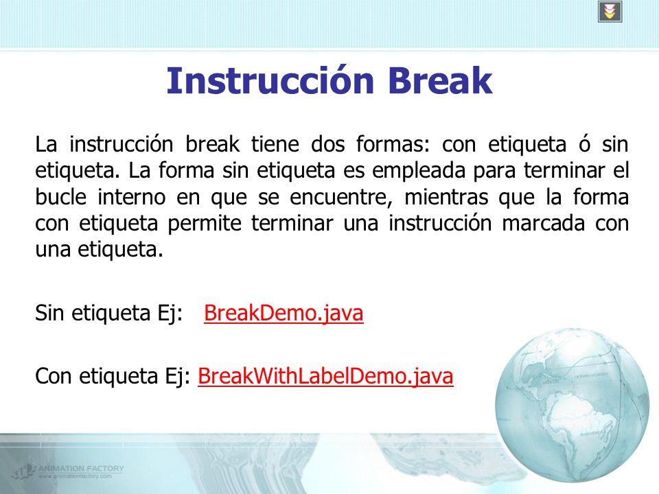 Instrucción Break La instrucción break tiene dos formas: con etiqueta ó sin etiqueta.