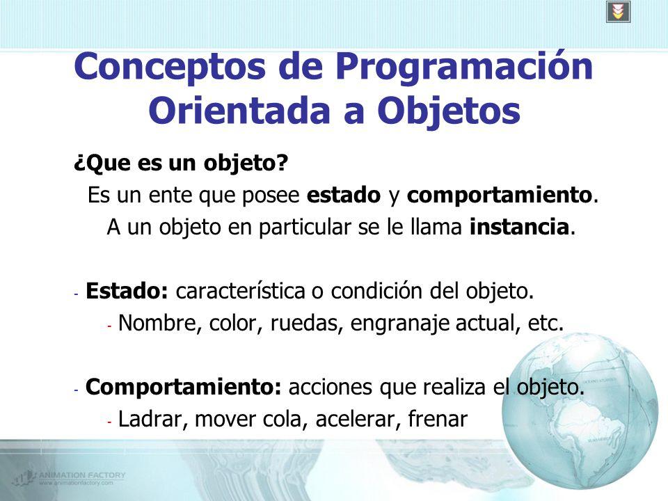 Conceptos de Programación Orientada a Objetos ¿Que es un objeto.