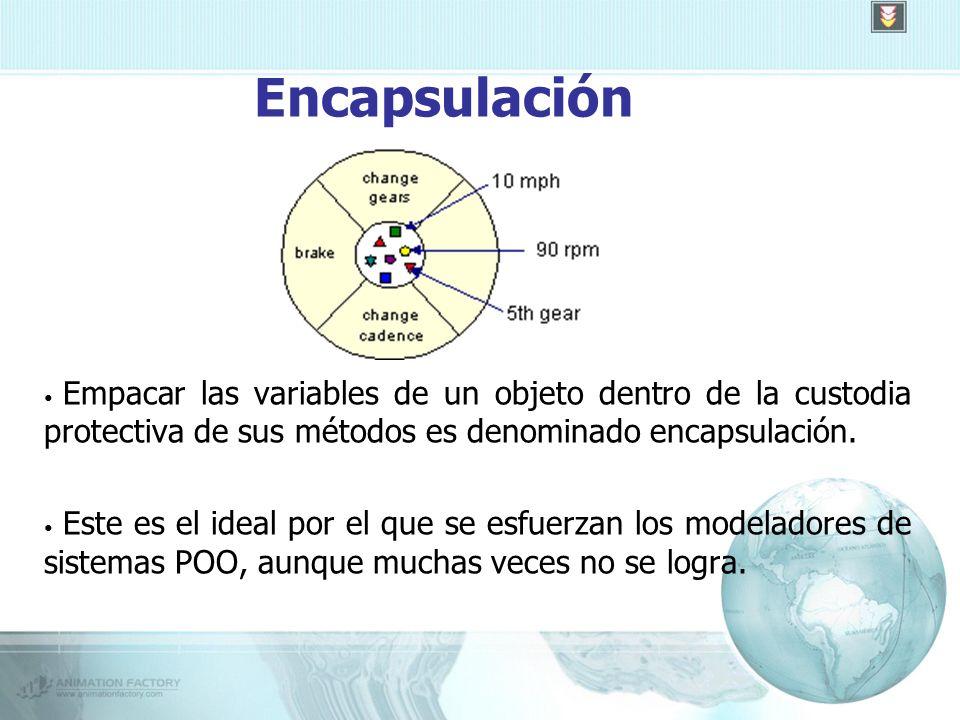 Encapsulación Empacar las variables de un objeto dentro de la custodia protectiva de sus métodos es denominado encapsulación.