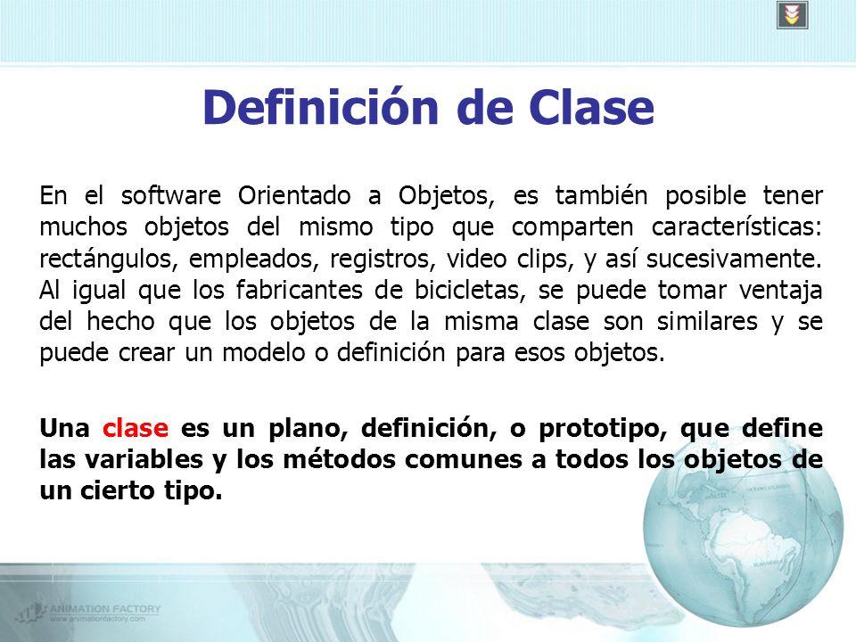 Definición de Clase En el software Orientado a Objetos, es también posible tener muchos objetos del mismo tipo que comparten características: rectángulos, empleados, registros, video clips, y así sucesivamente.