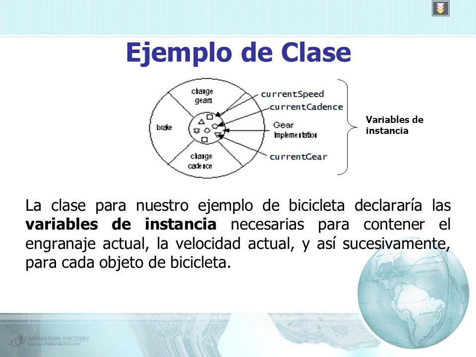 Ejemplo de Clase La clase para nuestro ejemplo de bicicleta declararía las variables de instancia necesarias para contener el engranaje actual, la velocidad actual, y así sucesivamente, para cada objeto de bicicleta.