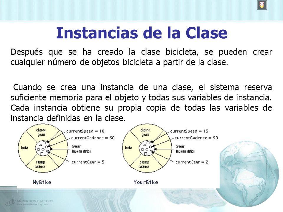 Instancias de la Clase Después que se ha creado la clase bicicleta, se pueden crear cualquier número de objetos bicicleta a partir de la clase.