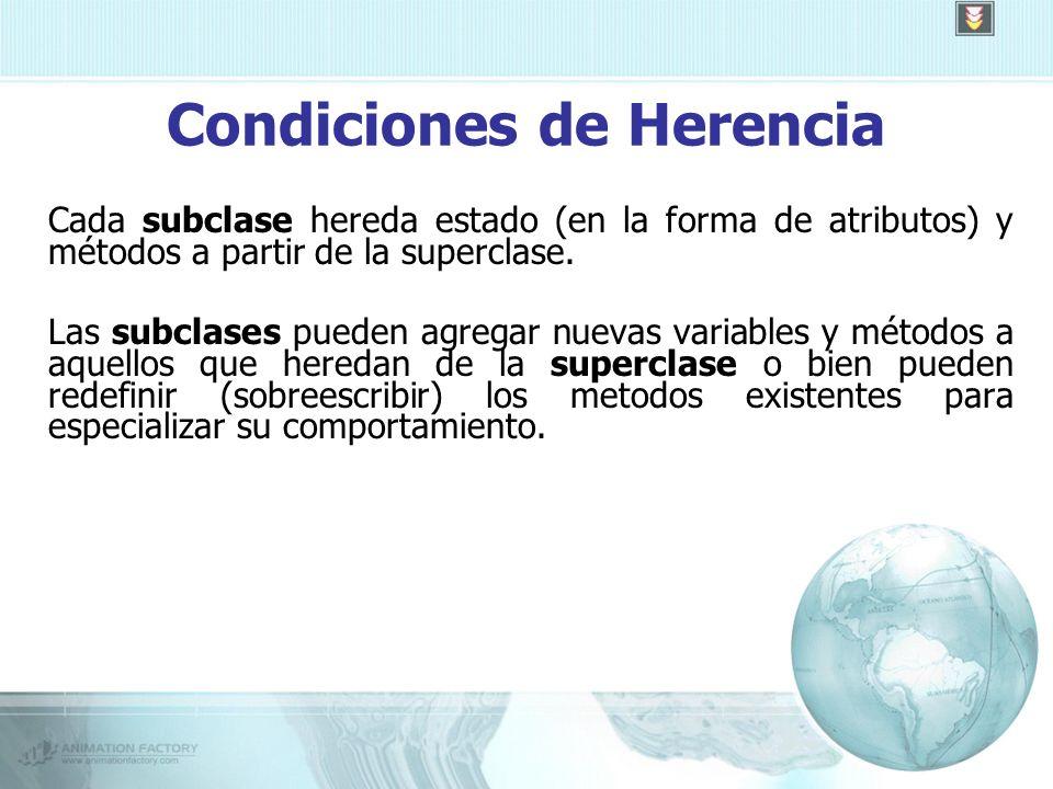 Condiciones de Herencia Cada subclase hereda estado (en la forma de atributos) y métodos a partir de la superclase.