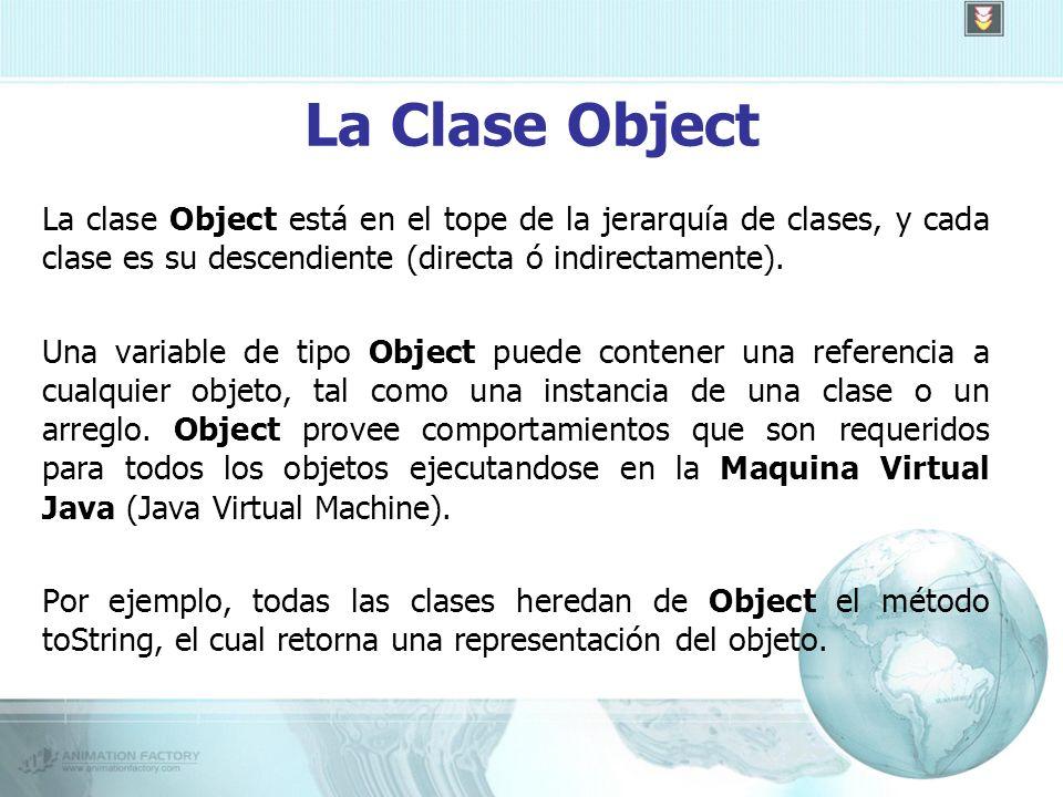 La Clase Object La clase Object está en el tope de la jerarquía de clases, y cada clase es su descendiente (directa ó indirectamente).