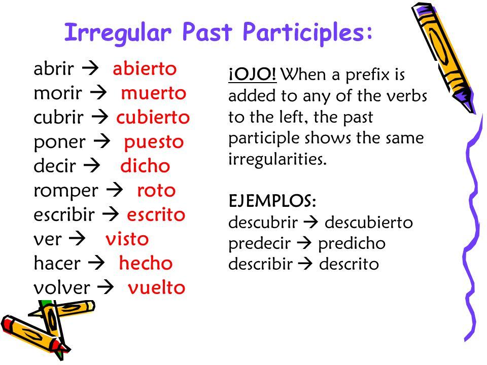 Accent Changes EJEMPLOS: caer caído leer leído traer traído creer creído oír oídoreír reído ER & IR verbs that have stems ending in a vowel have an accent mark over the –í- in the past participle.