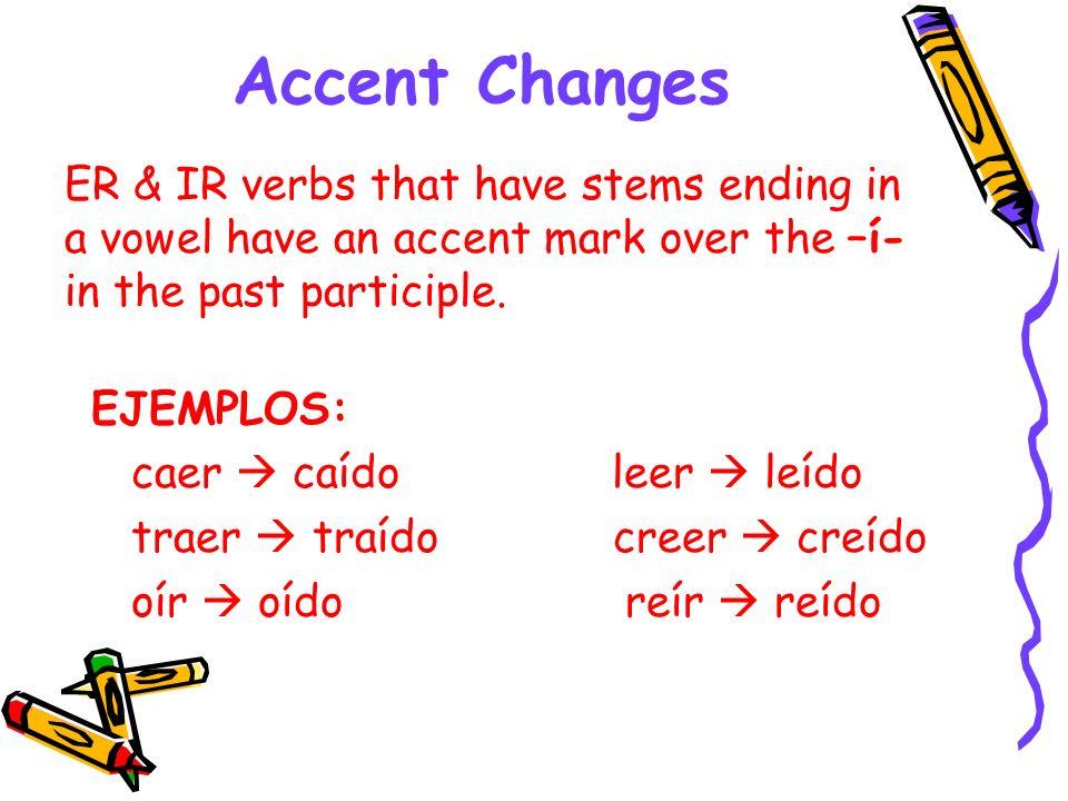 Accent Changes EJEMPLOS: caer caído leer leído traer traído creer creído oír oídoreír reído ER & IR verbs that have stems ending in a vowel have an ac