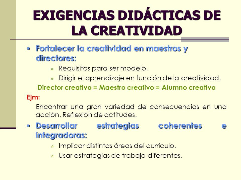 EXIGENCIAS DIDÁCTICAS DE LA CREATIVIDAD Fortalecer la creatividad en maestros y directores: Fortalecer la creatividad en maestros y directores: Requis