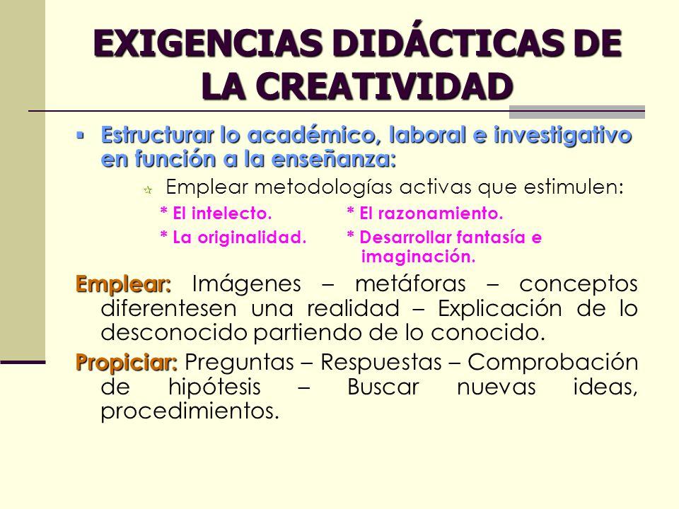 EXIGENCIAS DIDÁCTICAS DE LA CREATIVIDAD Estructurar lo académico, laboral e investigativo en función a la enseñanza: Estructurar lo académico, laboral