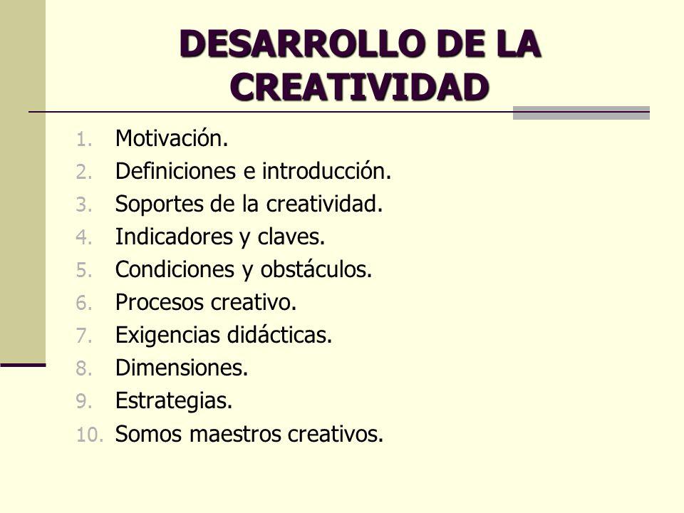 1. Motivación. 2. Definiciones e introducción. 3. Soportes de la creatividad. 4. Indicadores y claves. 5. Condiciones y obstáculos. 6. Procesos creati