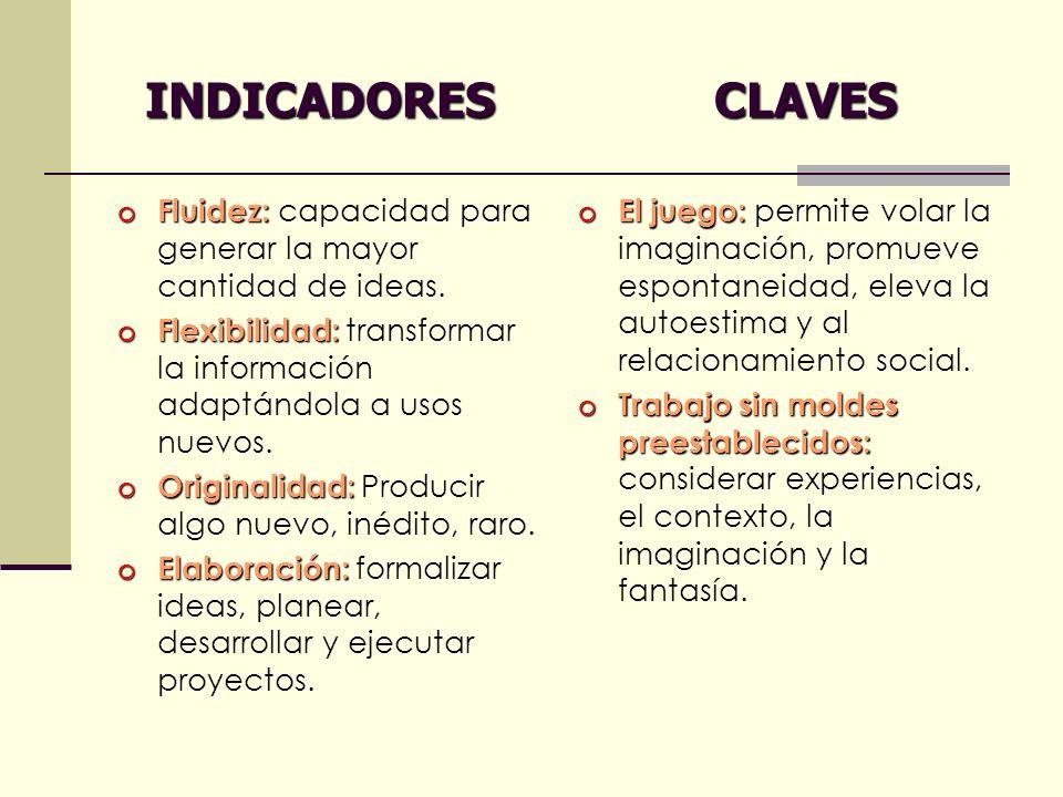 INDICADORES CLAVES INDICADORES CLAVES o Fluidez: o Fluidez: capacidad para generar la mayor cantidad de ideas. o Flexibilidad: o Flexibilidad: transfo